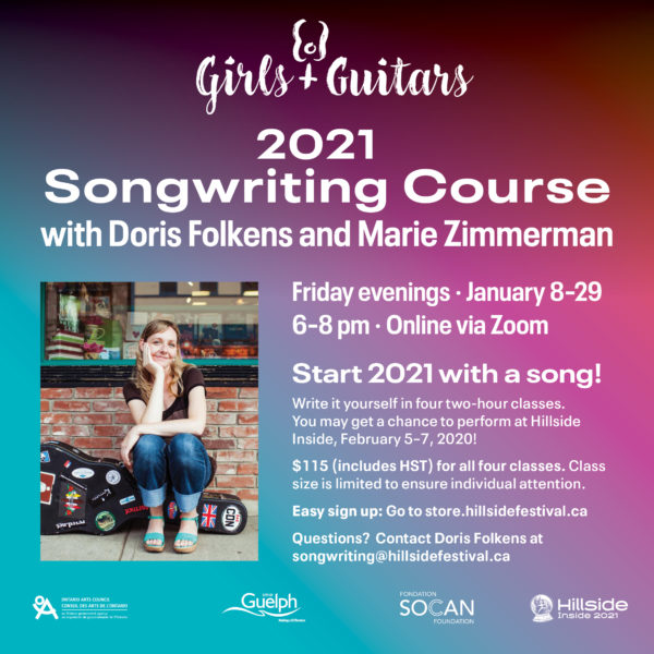 Songwriting course, Friday evenings, January 8-29, over Zoom
